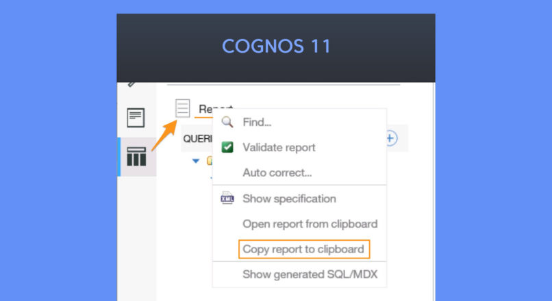 How to Copy Cognos Report to Clipboard